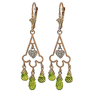 Peridot and Diamond Trilogy Drop Earrings 4.8ctw in 9ct Gold