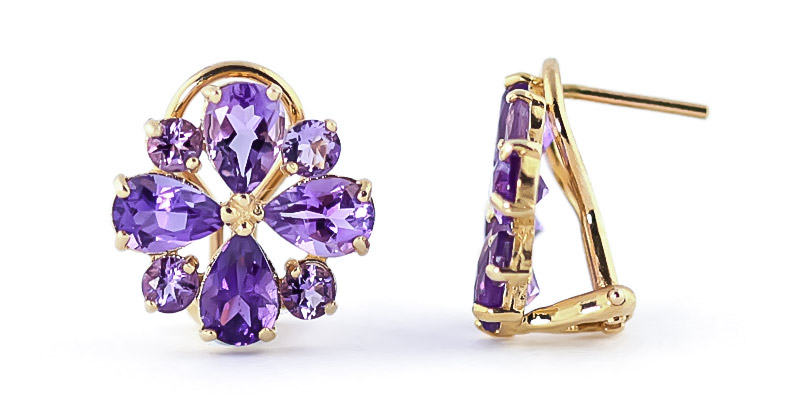 Amethyst Sunflower Stud Earrings 4.85ctw in 9ct Gold