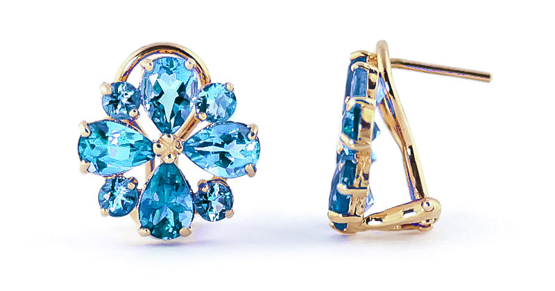 Blue Topaz Sunflower Stud Earrings 4.85ctw in 9ct Gold