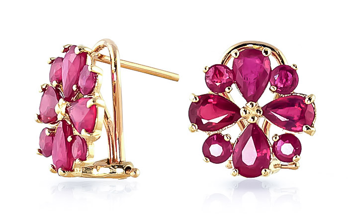 Ruby Sunflower Stud Earrings 4.85ctw in 9ct Gold