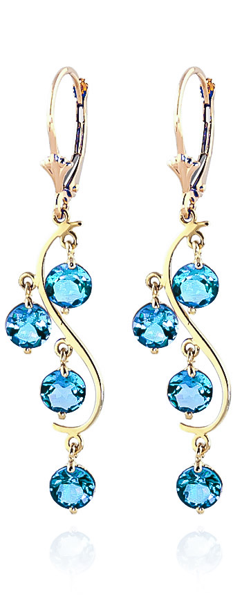 Blue Topaz Dream Catcher Drop Earrings 4.95ctw in 9ct Gold