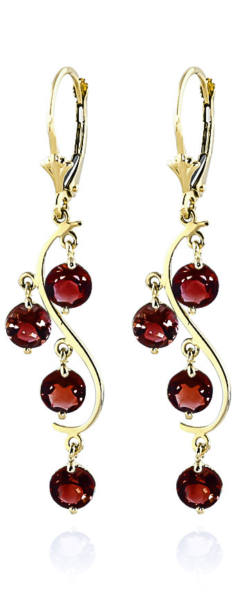 Garnet Dream Catcher Drop Earrings 4.95ctw in 9ct Gold