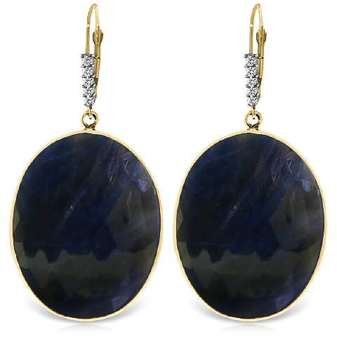Sapphire and Diamond Drop Earrings 40.0ctw in 9ct Gold