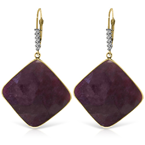 Ruby and Diamond Drop Earrings 40.5ctw in 9ct Gold