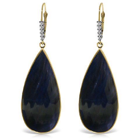 Sapphire and Diamond Drop Earrings 42.0ctw in 9ct Gold