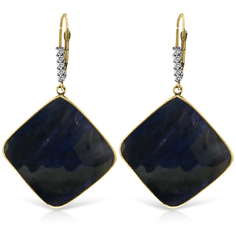 Sapphire and Diamond Drop Earrings 43.5ctw in 9ct Gold