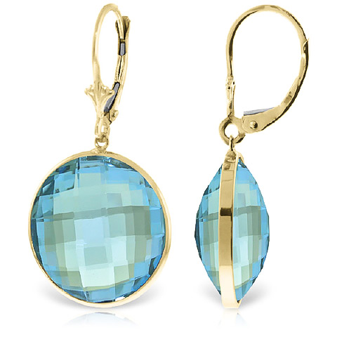 Blue Topaz Drop Earrings 46.0ctw in 9ct Gold