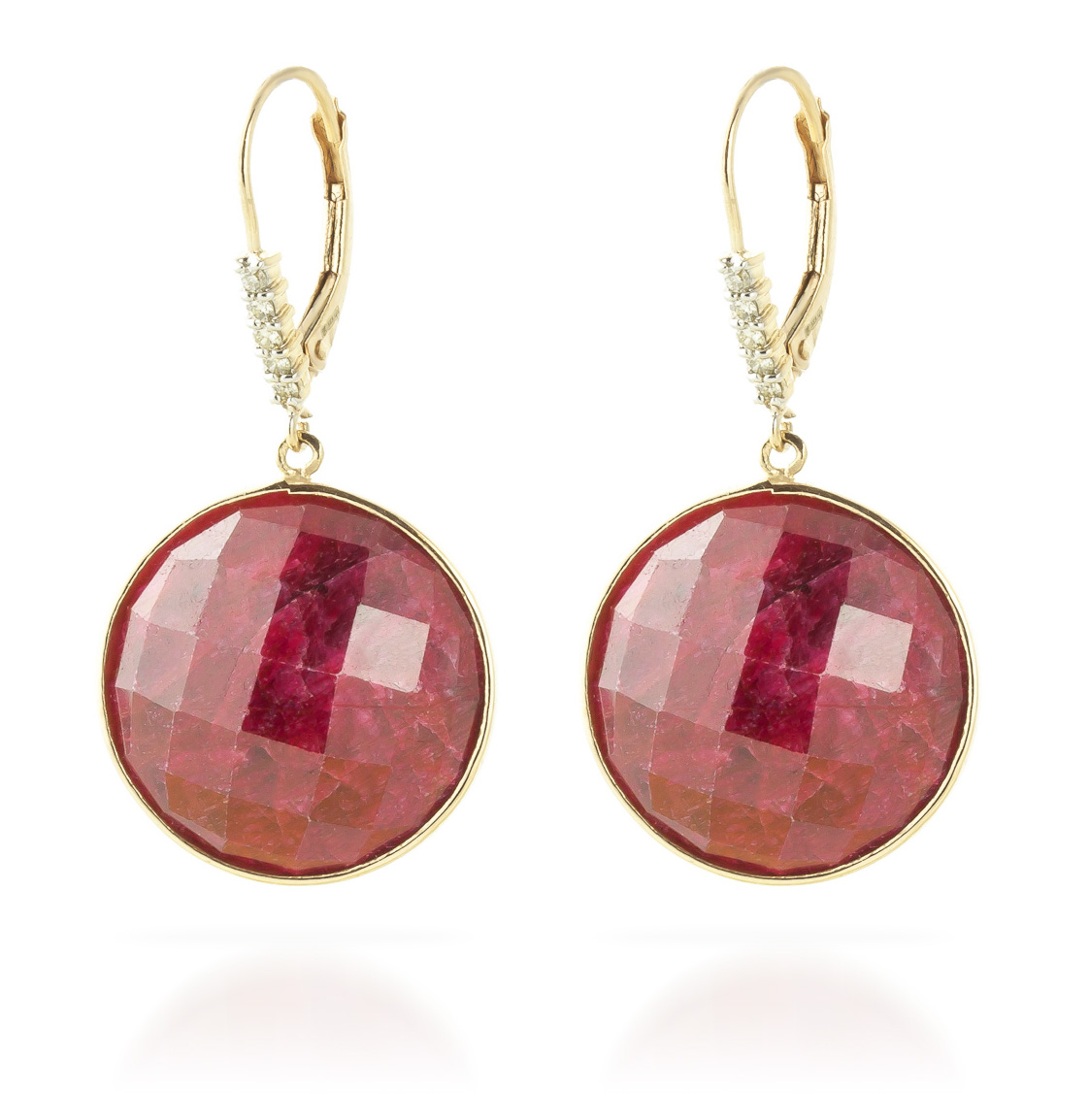 Ruby and Diamond Drop Earrings 46.0ctw in 9ct Gold