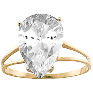 Pear Cut White Topaz Ring 5.0ct in 9ct Gold