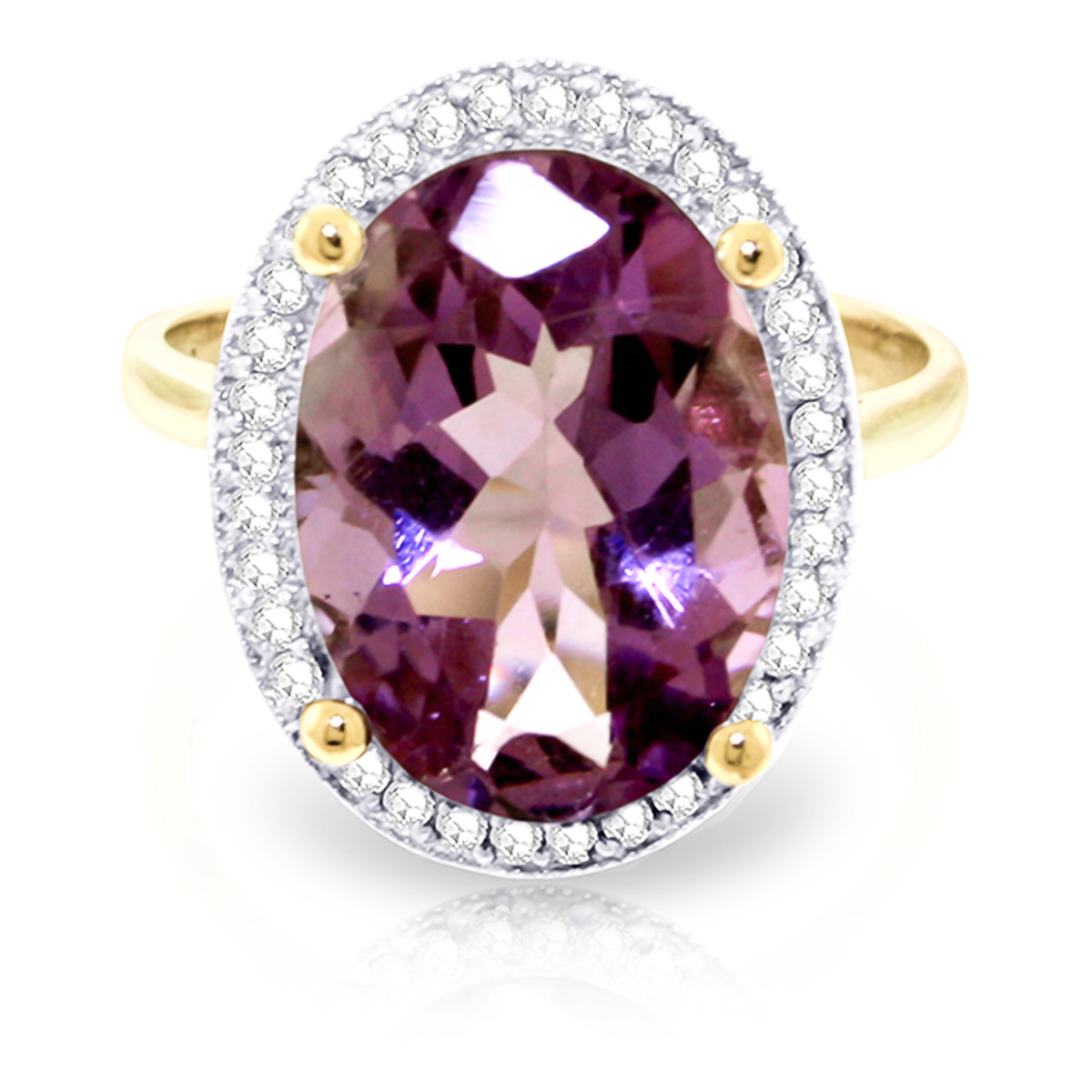Amethyst and Diamond Halo Ring 5.1ct in 9ct Gold
