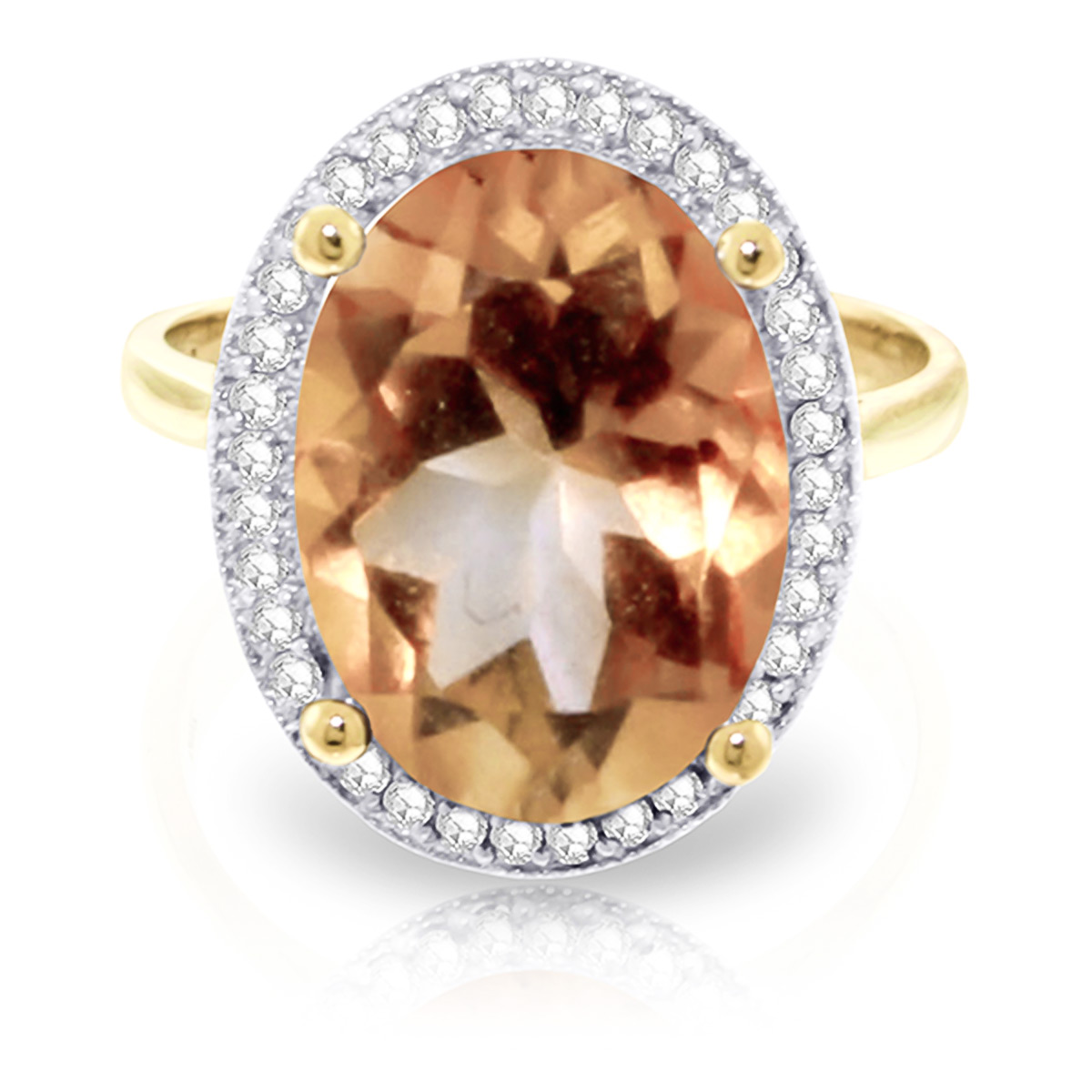 Citrine and Diamond Halo Ring 5.1ct in 9ct Gold