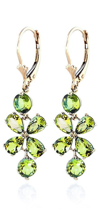 Peridot Blossom Drop Earrings 5.32ctw in 9ct Gold