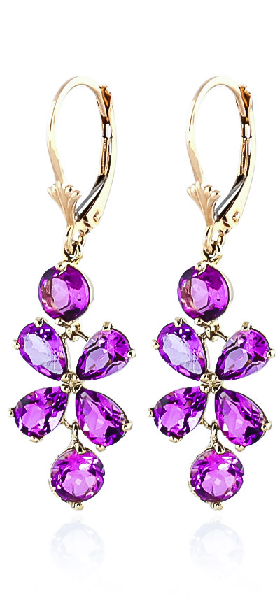 Pink Topaz Blossom Drop Earrings 5.32ctw in 9ct Gold