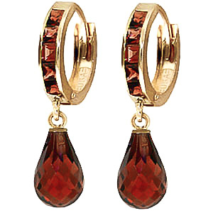 Garnet Droplet Huggie Earrings 5.35ctw in 9ct Gold