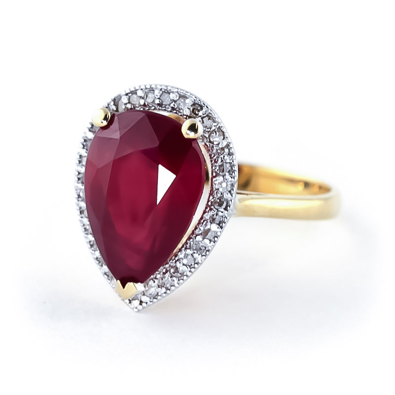 Ruby and Diamond Halo Ring 5.35ct in 9ct Gold