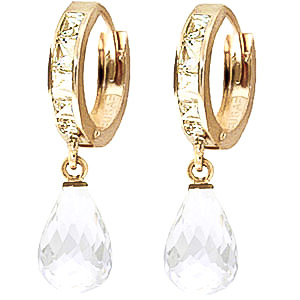 White Topaz Droplet Huggie Earrings 5.35ctw in 9ct Gold