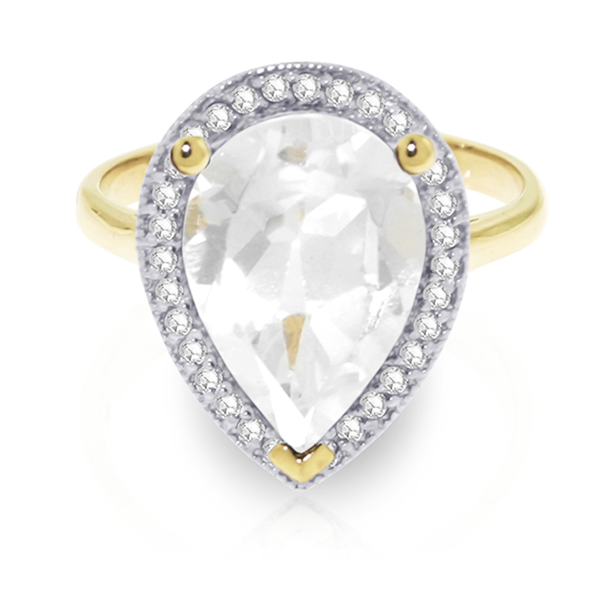 White Topaz and Diamond Halo Ring 5.45ct in 9ct Gold