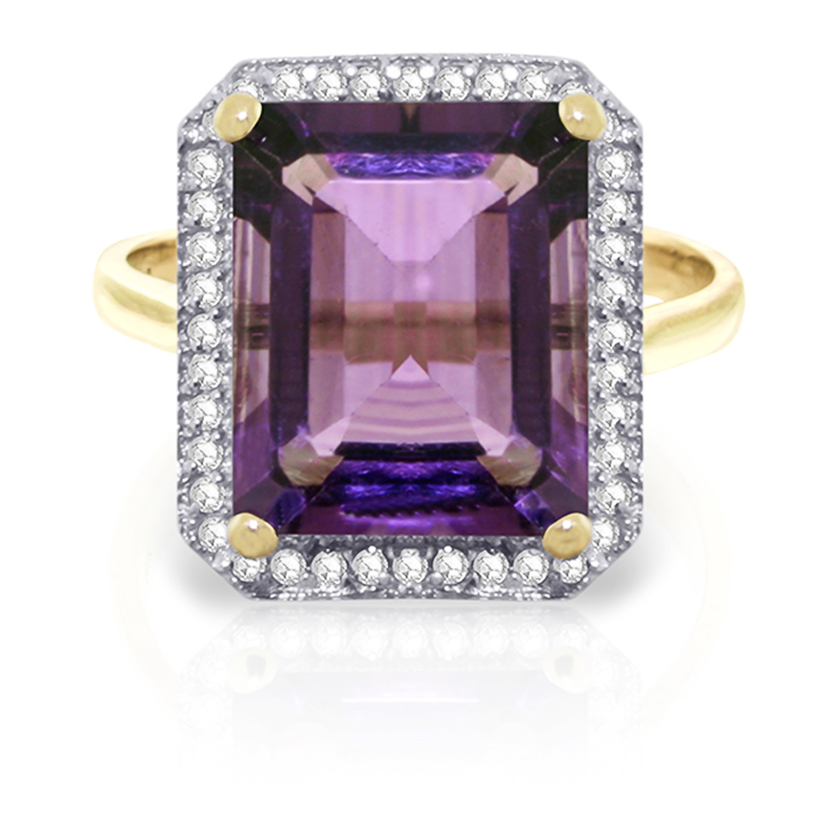 Amethyst and Diamond Halo Ring 5.6ct in 9ct Gold