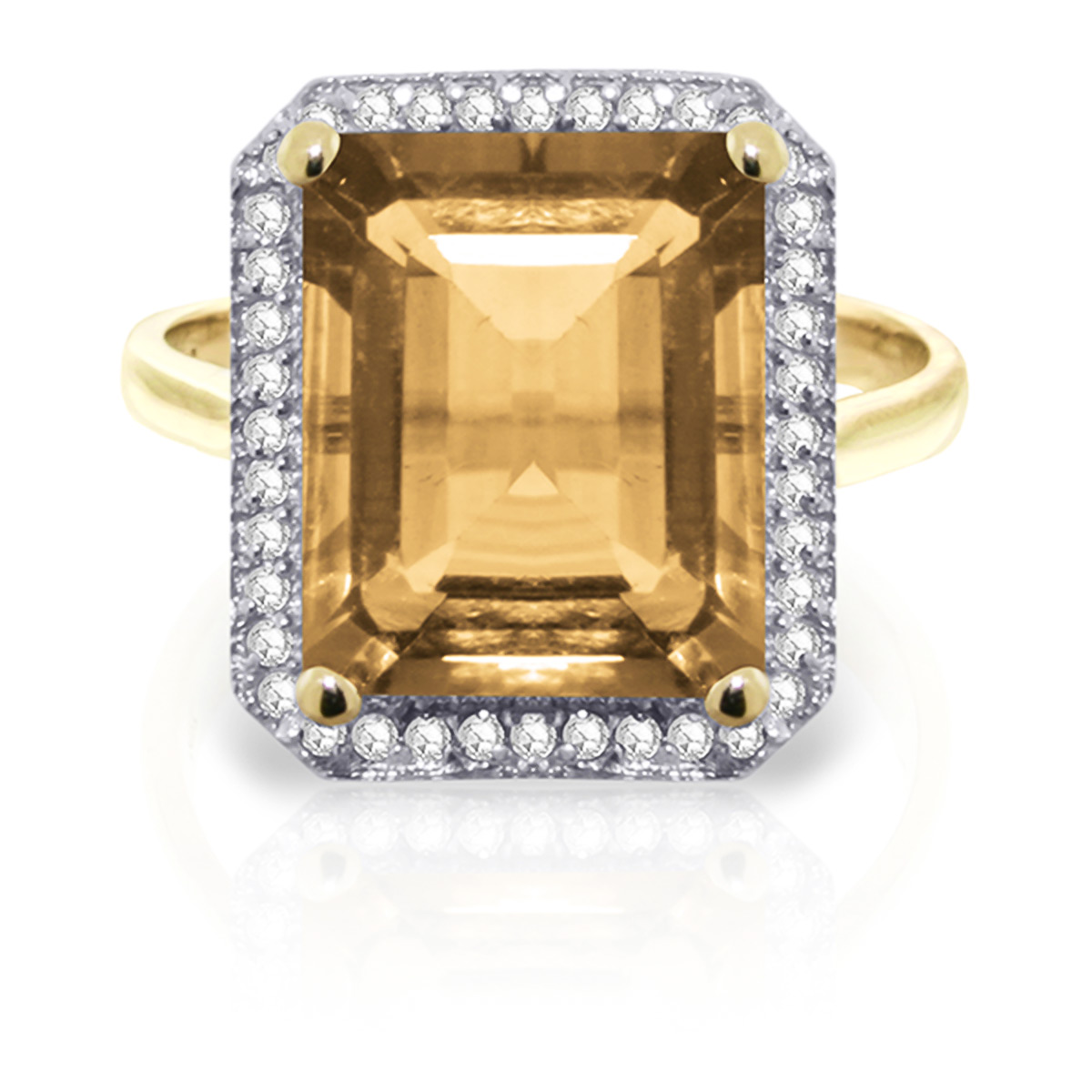 Citrine and Diamond Halo Ring 5.6ct in 9ct Gold
