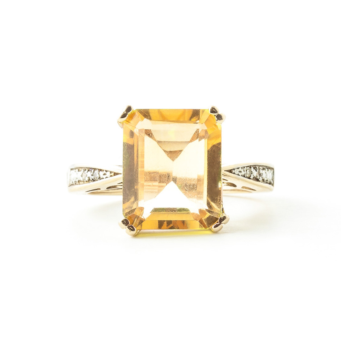 Citrine and Diamond Ring 5.6ct in 9ct Gold