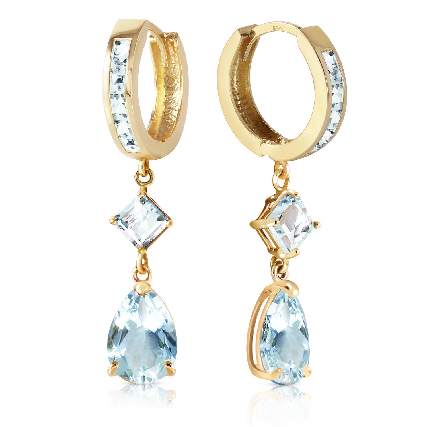 Aquamarine Droplet Huggie Earrings 5.62ctw in 9ct Gold
