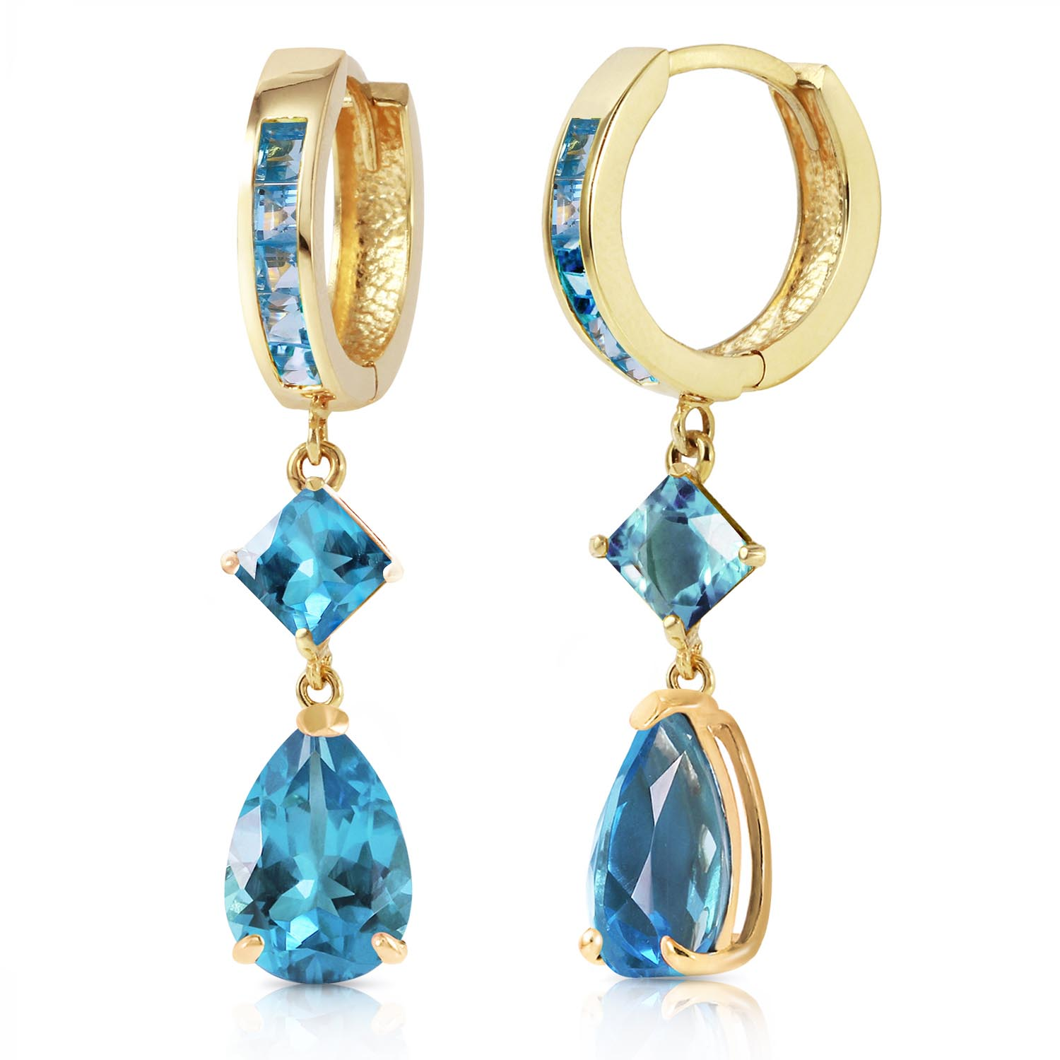 Blue Topaz Droplet Huggie Earrings 5.62ctw in 9ct Gold