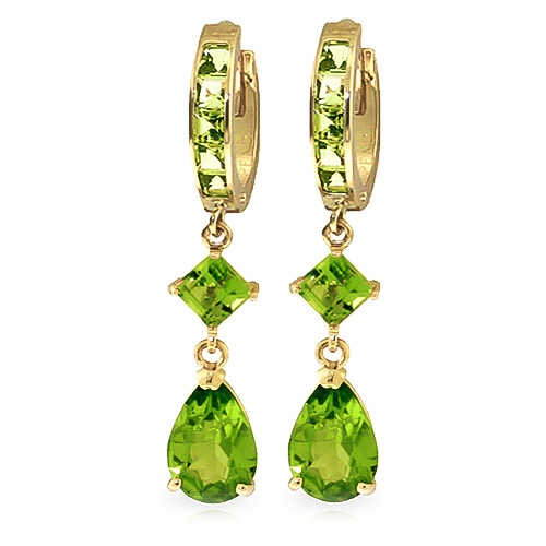 Peridot Droplet Huggie Earrings 5.62ctw in 9ct Gold