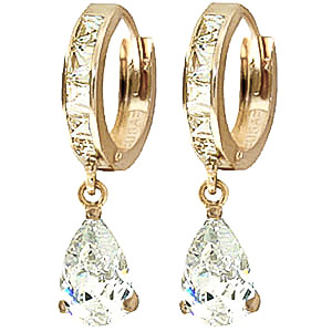 Cubic Zirconia Droplet Huggie Earrings 5.7ctw in 9ct Gold