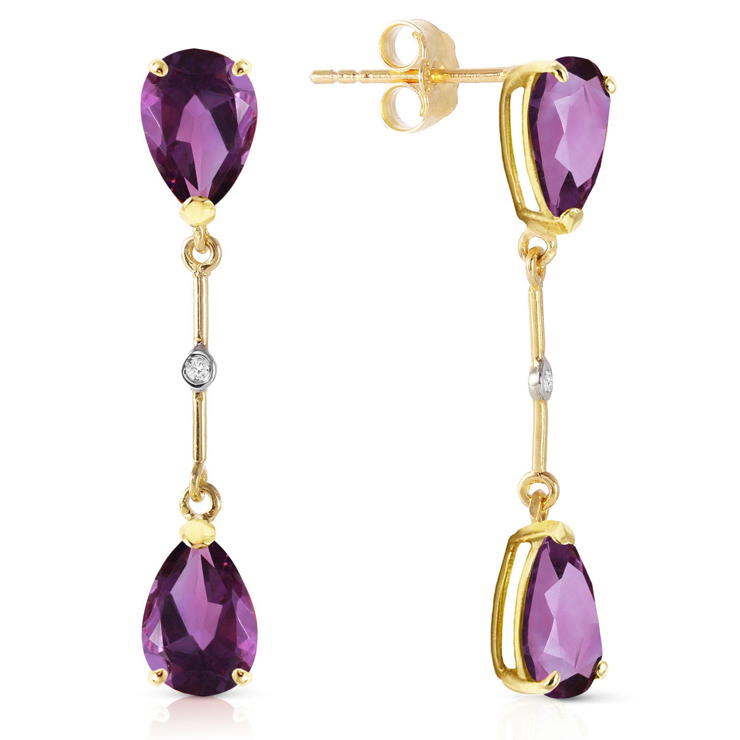Amethyst and Diamond Drop Earrings 6.0ctw in 9ct Gold