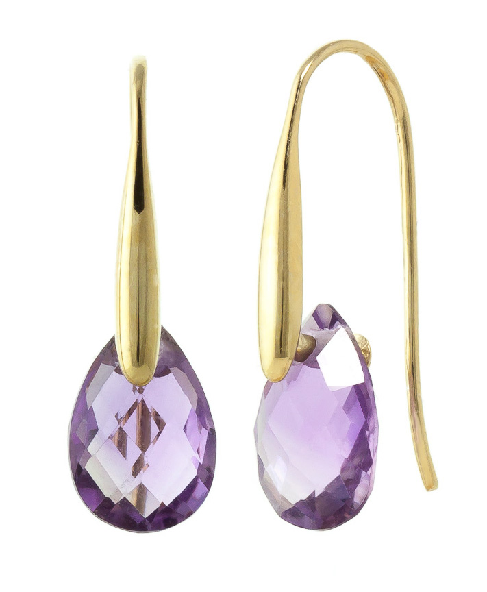 Amethyst Briolette Drop Earrings 6.0ctw in 9ct Gold