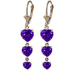 Amethyst Triple Heart Drop Earrings 6.0ctw in 9ct Gold