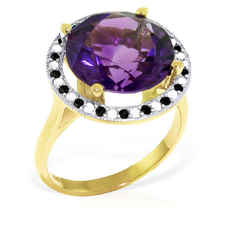 Amethyst and Diamond Halo Ring 6.0ct in 9ct Gold