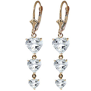 Aquamarine Triple Heart Drop Earrings 6.0ctw in 9ct Gold