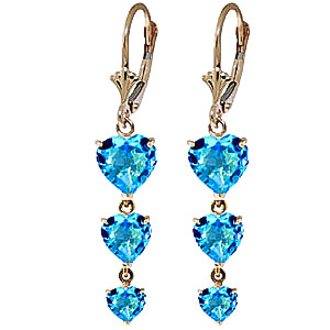 Blue Topaz Triple Heart Drop Earrings 6.0ctw in 9ct Gold