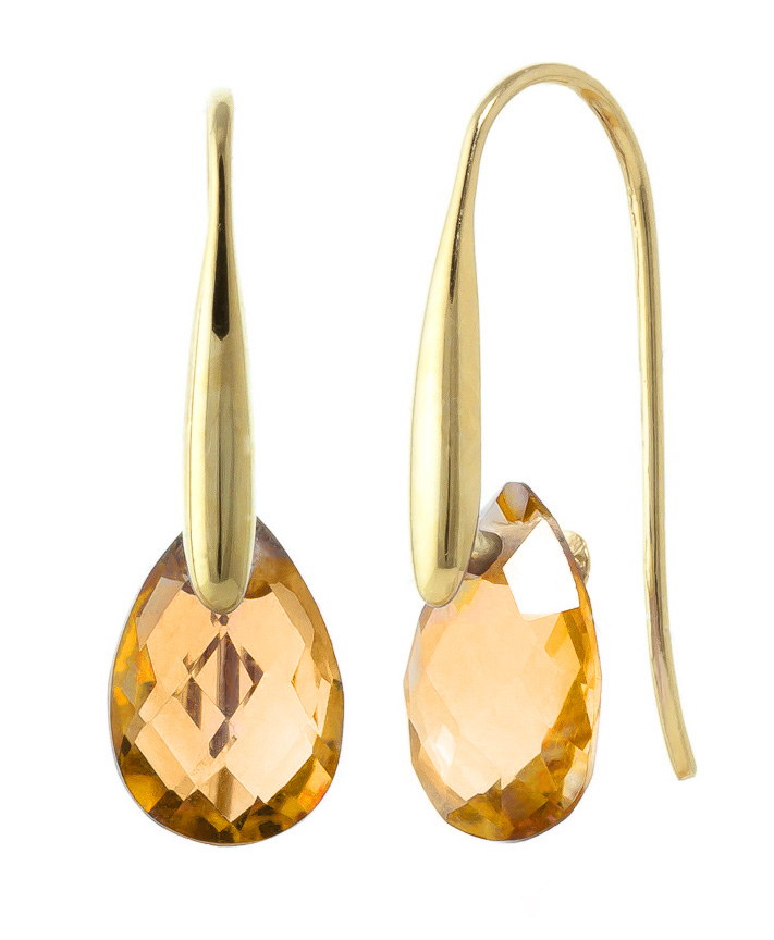 Citrine Briolette Drop Earrings 6.0ctw in 9ct Gold