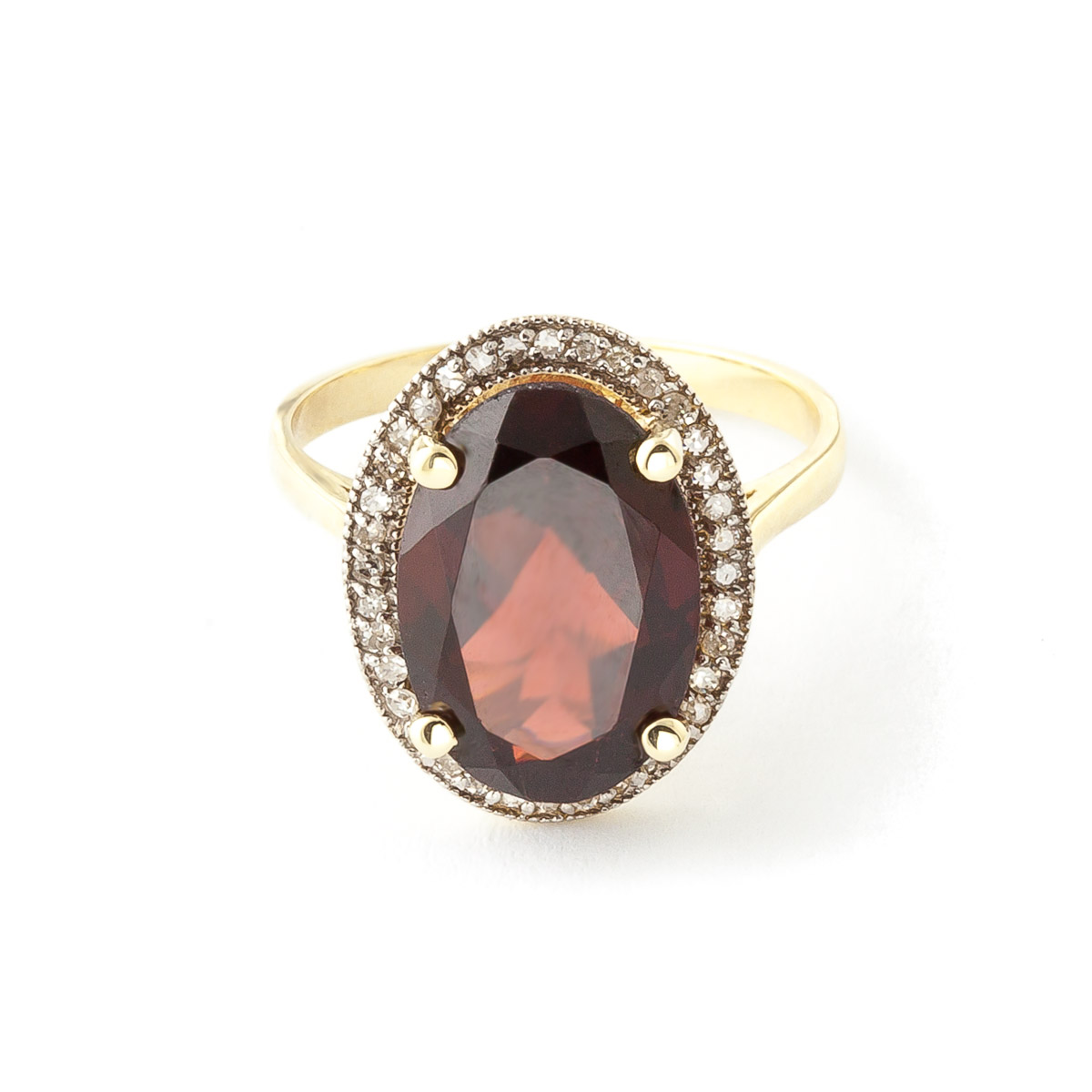 Garnet and Diamond Halo Ring 6.0ct in 9ct Gold