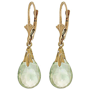 Green Amethyst Droplet Briolette Earrings 6.0ctw in 9ct Gold