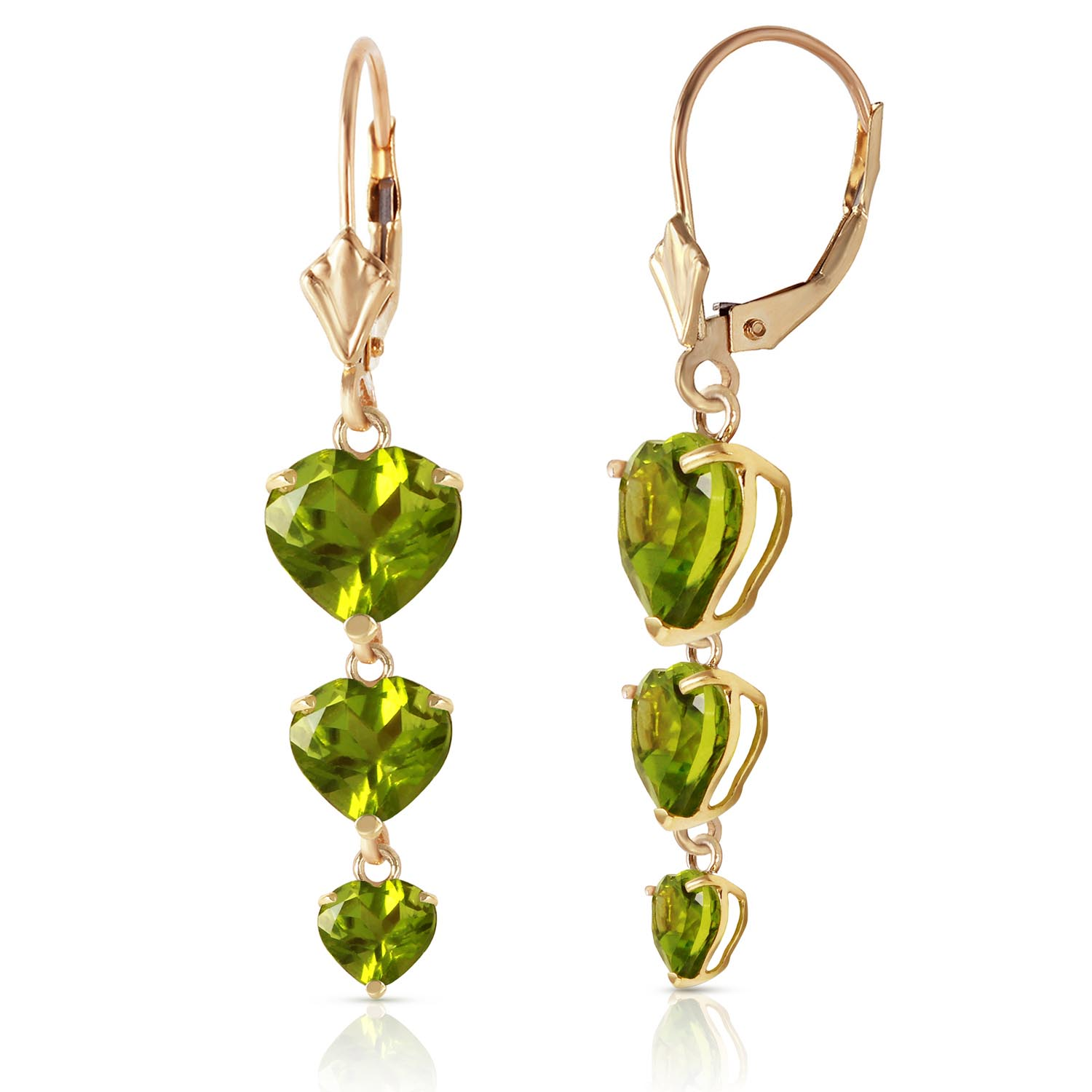 Peridot Triple Heart Drop Earrings 6.0ctw in 9ct Gold