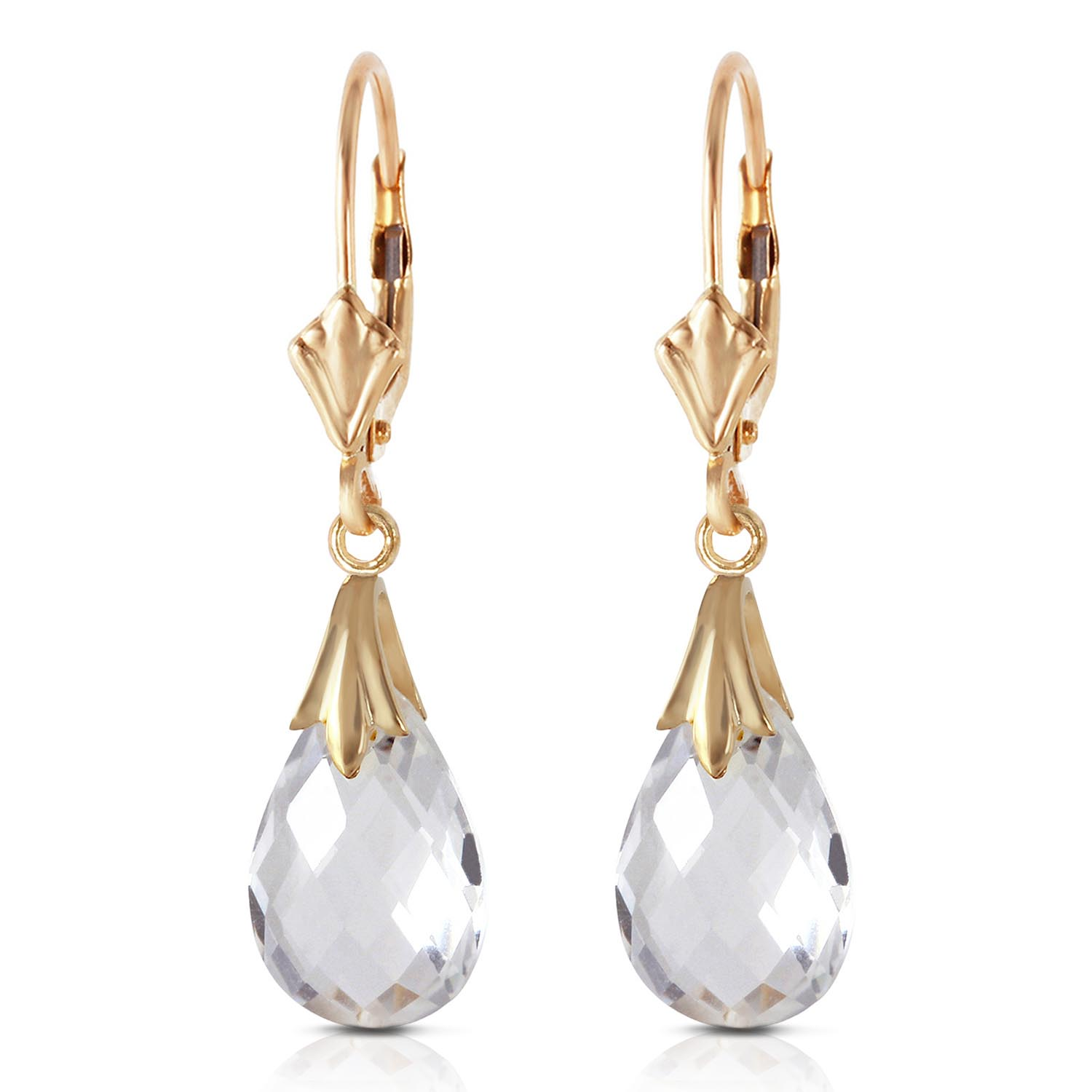 White Topaz Droplet Briolette Earrings 6.0ctw in 9ct Gold