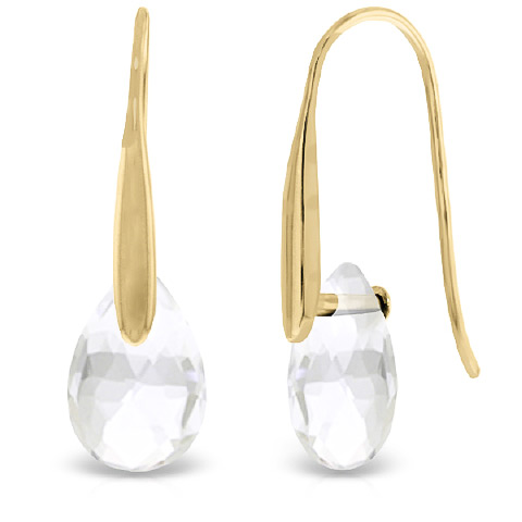 White Topaz Briolette Drop Earrings 6.0ctw in 9ct Gold
