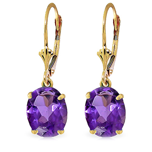 Amethyst Drop Earrings 6.25ctw in 9ct Gold