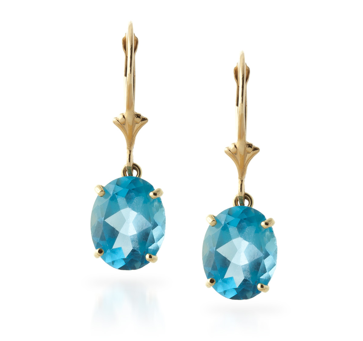 Blue Topaz Drop Earrings 6.25ctw in 9ct Gold