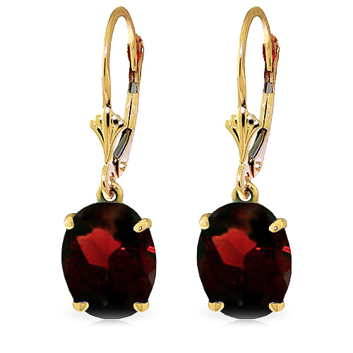 Garnet Drop Earrings 6.25ctw in 9ct Gold