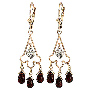 Garnet and Diamond Trilogy Drop Earrings 6.3ctw in 9ct Gold