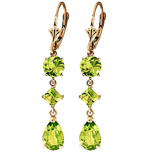 Peridot Drop Earrings 6.3ctw in 9ct Gold