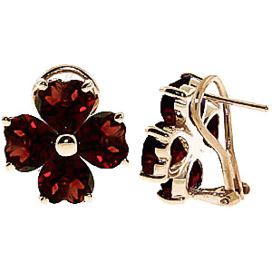 Garnet Flower Heart Stud Earrings 6.5ctw in 9ct Gold
