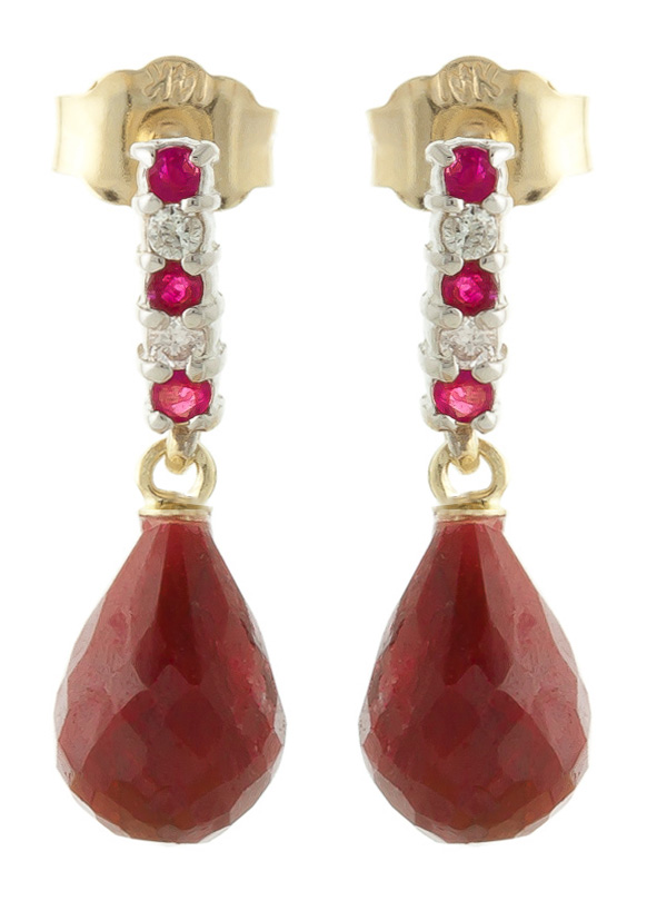 Ruby and Diamond Stud Earrings 6.84ctw in 9ct Gold