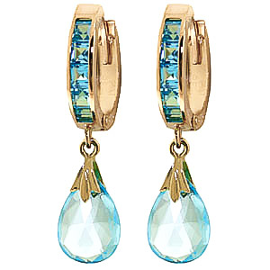 Blue Topaz Droplet Huggie Earrings 6.85ctw in 9ct Gold