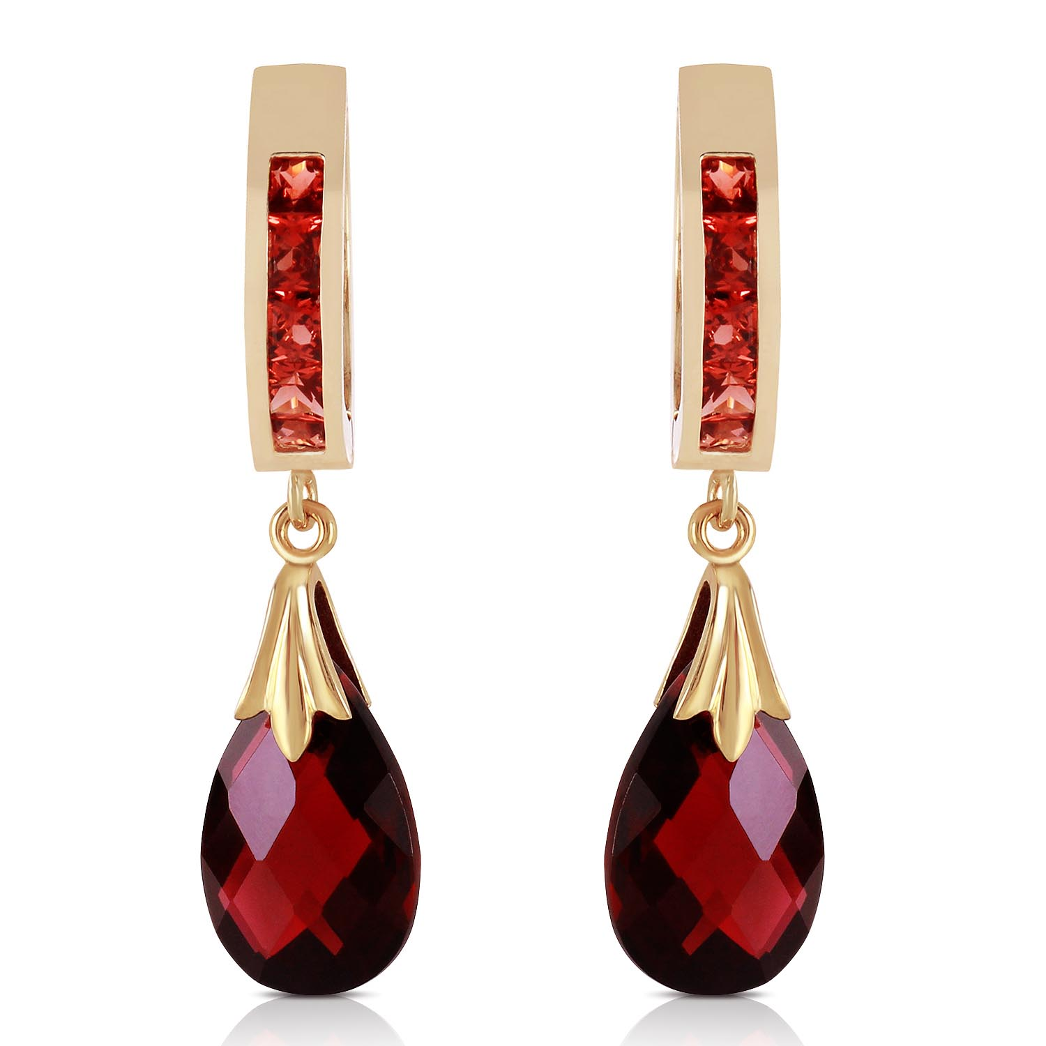 Garnet Droplet Huggie Earrings 6.85ctw in 9ct Gold