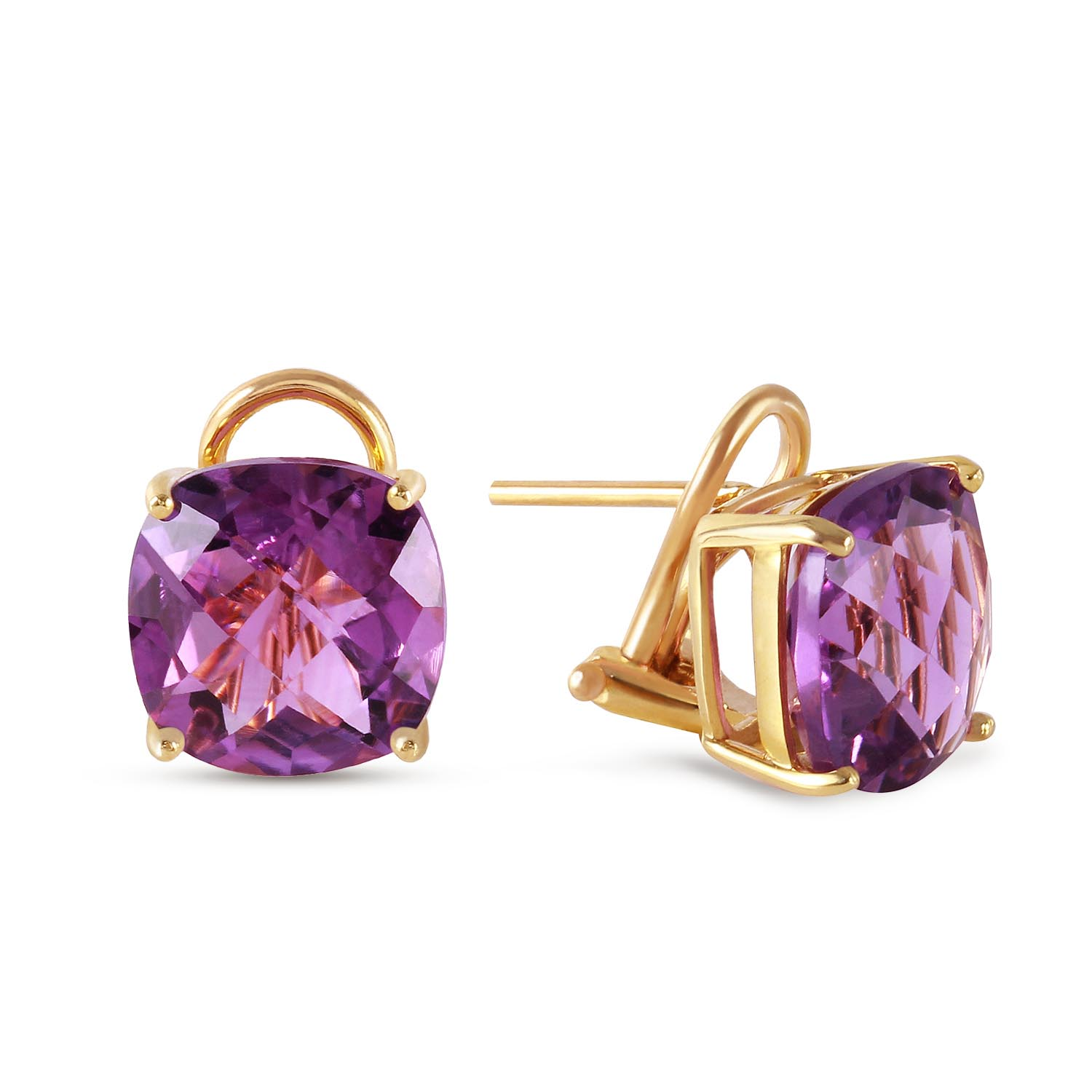 Amethyst Stud Earrings 7.2ctw in 9ct Gold